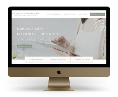 Custom Showit Website Design Mock Up for Carolyn Teague FNP, a functional medicine practitioner