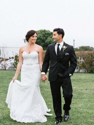 Classic outdoor San Francisco wedding bride and groom walking together