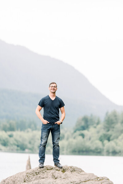 Zach from Alison Mae Photography at Rattlesnake Lake in Seattle