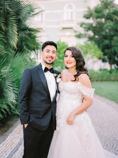 elegant fashion bride in paris with rime arodaky gown