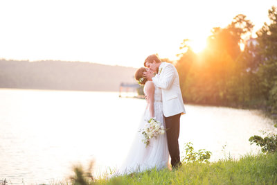 elegant bride and groom at sunset