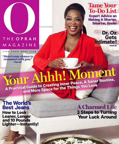 The Oprah Magazine cover with press clipping from Diana Winston
