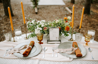Pinewood Wedding Venue in Minnesota Styled Shoot photo of a tablescape