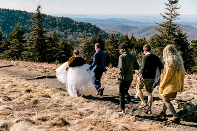 bridal party walks in field