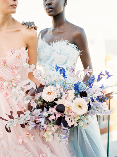 PortugWedding Bouquet in shades of blue, pink and purple for a Tanzilia bridal campaign shoot in Lisbon by Sofia Nascimento Studios specialized in bespoke and luxury events with a focus on Destination Wedding Planning, Styling & Design based in Lisbon and working worldwide