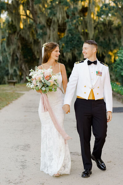 Grace Loves Lace wedding dress and US Navy dress whites for an October wedding at a historic Charleston estate