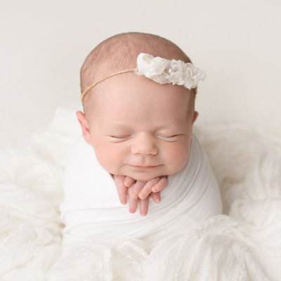 Salt Lake City Newborn Girl on White