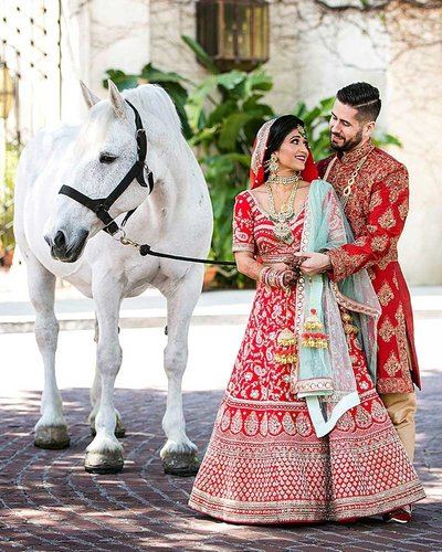 indian wedding with horse at la river center and gardens