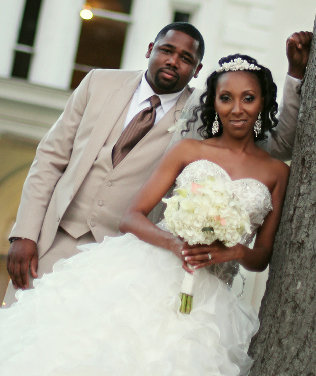 Beautiful couple after wedding at the Augusta Manor in Greenville, SC