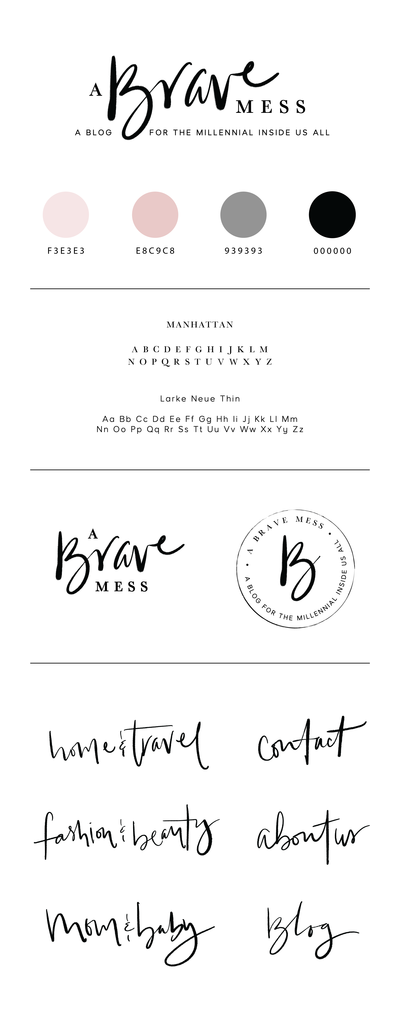 A brave mess blog branding board Kate by Tribble Design Co.