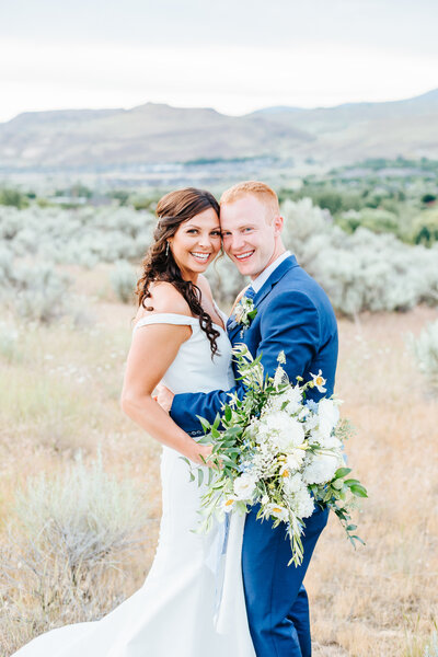 Boise Foothills Micro Wedding Portraits of the Bride and Groom