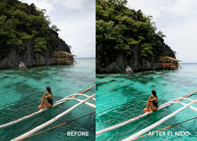before and after image of girl sitting on boat in ocean