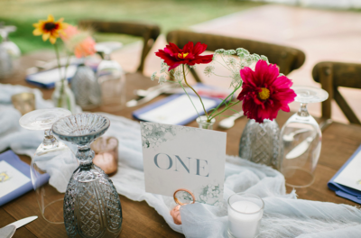 Wedding Table Design With Maroon Details
