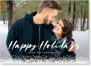 holiday photo card with snow