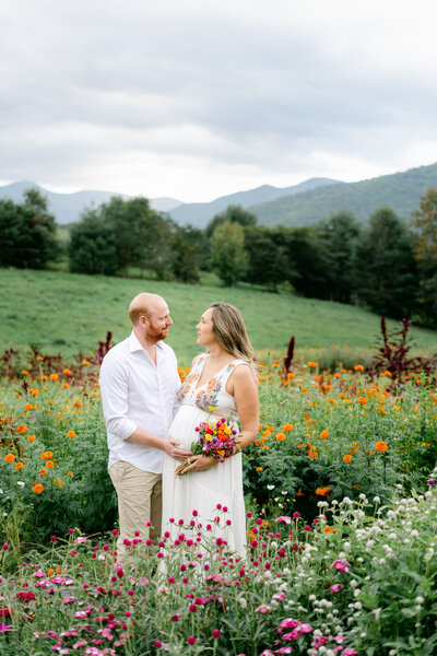 outdoor maternity in flower field
