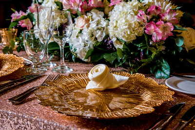 wedding charger plate rentals allentown PA 18103 mosaicandcompany.com hotel bethlehem gold charger plate3
