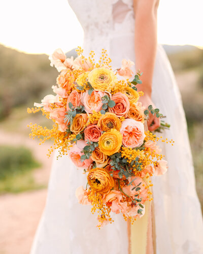 Yellow and peach bridal bouquet