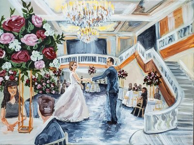 Live wedding painting by Brittany Branson at the National Museum of Women in the Arts in Washington DC