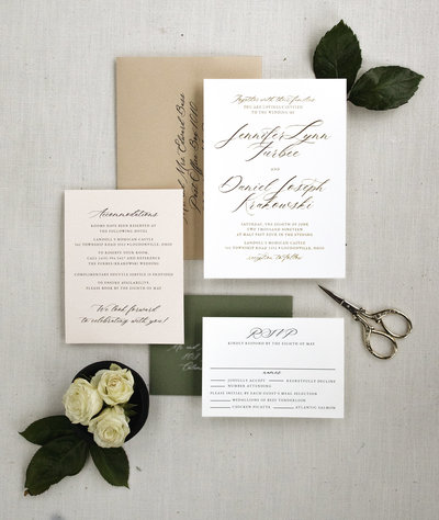 A truly timeless invitation featuring a traditional, classic layout with modern calligraphy. This is the perfect invitation for couples wanting a clean, elegant invitation that will never look dated.