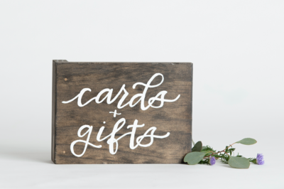 Wooden Cards and Gifts Sign