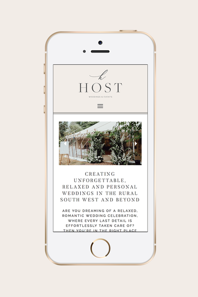 Host Weddings & Events  Mobile Website Design | Wedding Planner Branding