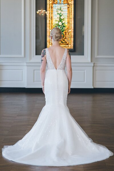 Back view of the sequin wedding dress Faven from the 2018 Edith Elan bridal collection