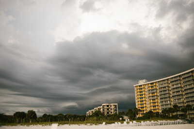 cloudy storm in siesta key florida during sunset session