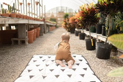 a one year old boy wearing brown overalls is crawling off of his quilt away from the camera