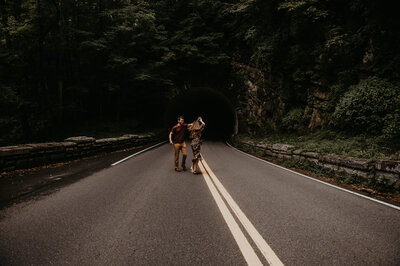 couple dancing in the road
