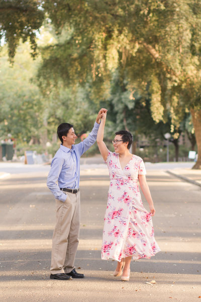 UC Davis  campus engagement photos by Adrienne and Dani Photography
