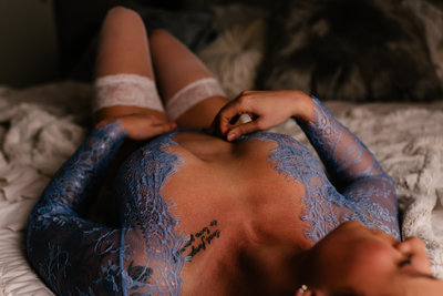 lilac lace bodysuit boudoir moody bedroom