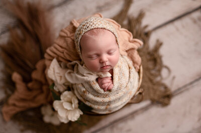 Grand Rapids Newborn Photography Wrapped on Prop by For The Love Of Photography