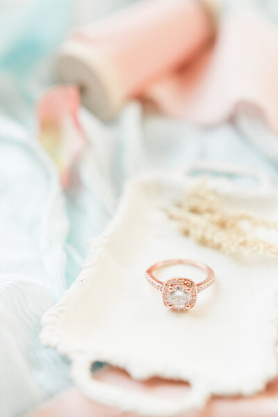 engagement ring flatlay