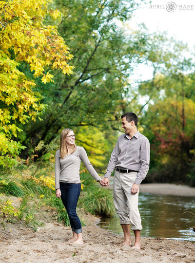 Fall Color Cherry Creek Engagement Photos in Denver CO