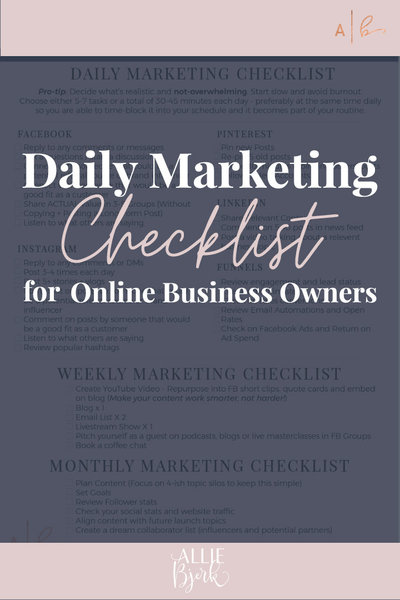 MarketingChecklistbyAllieBjerk