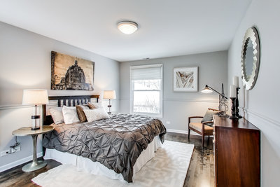 Haven Home Staging - Bedroom Spaces contrast look dark greys blacks whites chromes transitional look