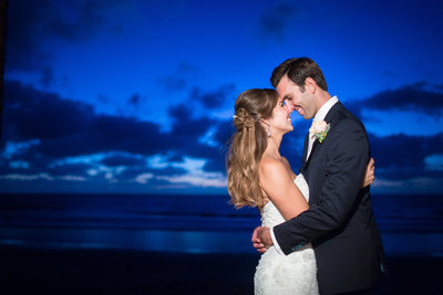 Bride and Groom at night at Scripps Seaside Forum