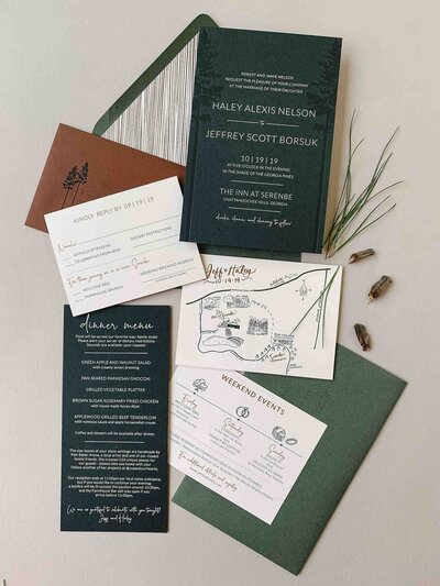 wedding suite printed on linen paper
