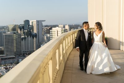 Bride and Groom in kilt at San Diego library