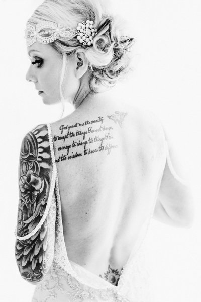 tattooed bride black and white image
