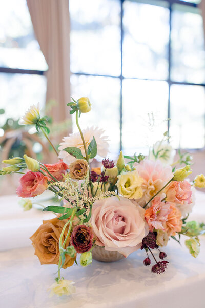 Petite ikebana style wedding centerpiece for a fall wedding in Lowcountry