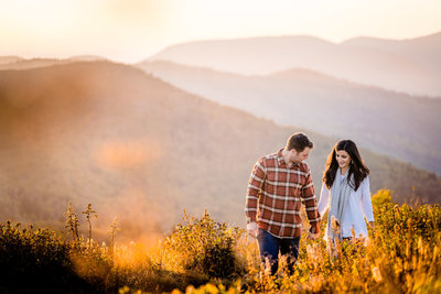 couple walking in mountains