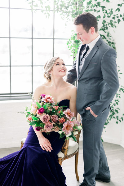 couples in indoor wedding style shoot