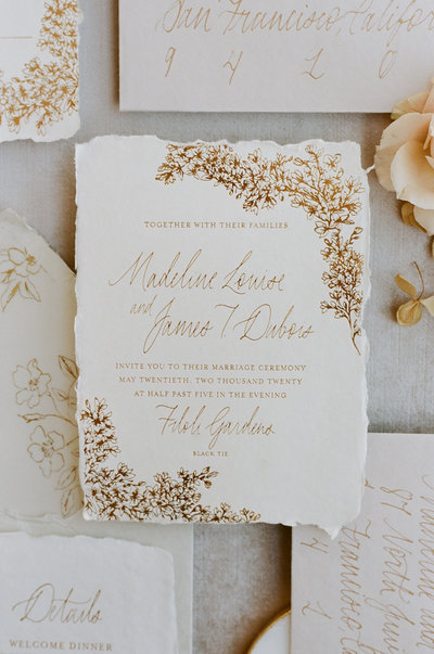Zurich semi-custom invitation suite, handmade paper, calligraphy, vintage stamps