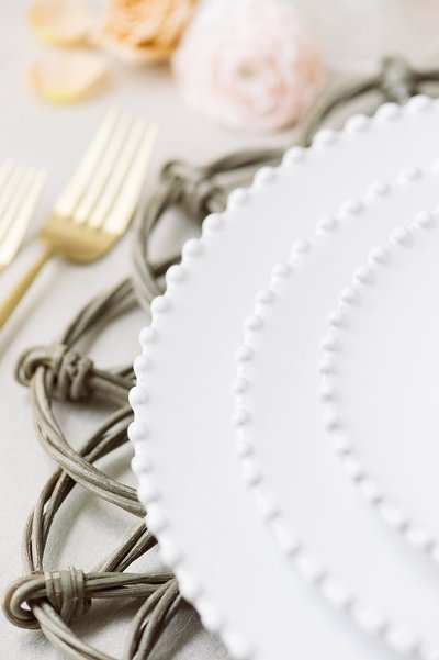 Wicker Charger and Beaded Plate Rental from The Collection