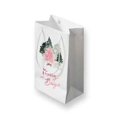 small merry and bright gift bag mockup