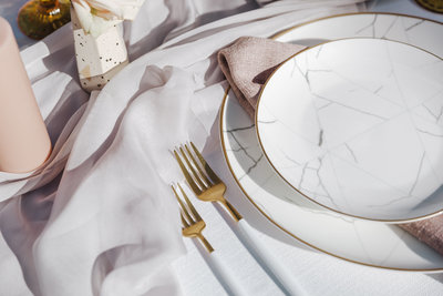 White and Gold Cutlery rental