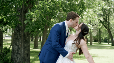 Fargo  wedding bride and groom kiss
