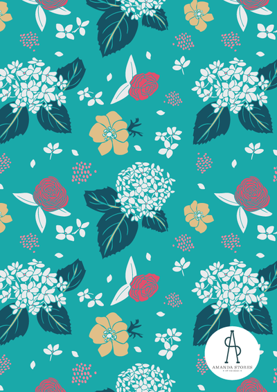 Amanda Stores- Fabric Collection Designer- Johns Creek, GA- Hydrangea Flower pattern on teal background