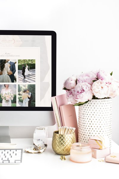 Blush and White Design House Website Sneak Peak Mockup - iMac